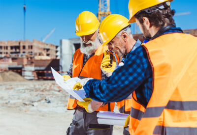 Contractors looking at plans